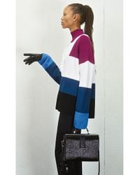 HUGO Blue Oversized-fit Sweater In Knitted Colour-block Cotton