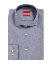 HUGO - Blue Slim-fit Shirt In Micro-check Cotton for Men - Lyst