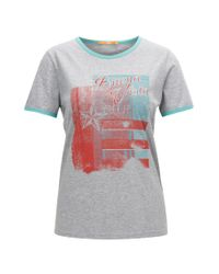 BOSS Gray Retro-print Slim-fit Jersey T-shirt With Contrast Bindings