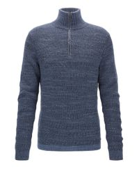 BOSS Blue Zip-neck Sweater In Modern Ribbed-knit Cotton for men