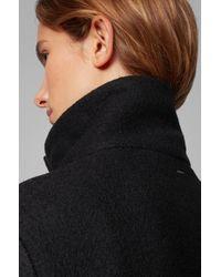 BOSS Black Regular-fit Coat In Boiled Virgin Wool