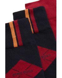 BOSS Blue Two-pack Of Plain And Patterned Regular-length Cotton-blend Socks for men