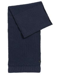 BOSS Orange - Blue Structured Scarf In Knitted Cotton for Men - Lyst