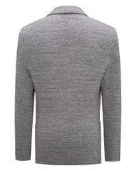 HUGO Gray Extra-slim-fit Jacket In Mélange Fabric for men