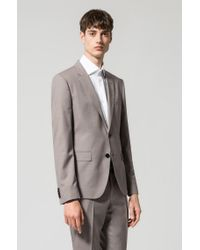 HUGO - Natural Regular-fit Suit In Structured Virgin Wool for Men - Lyst