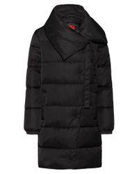 HUGO Black Regular-fit Water-repellent Puffer Coat With Oversized Collar