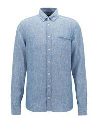 BOSS - Blue Regular-fit Shirt In Yarn-dyed Linen Chambray for Men - Lyst