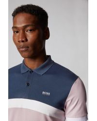BOSS by Hugo Boss Pink Slim-fit Polo Shirt With Curved Colour-blocking for men