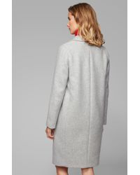 BOSS Gray Regular-fit Coat In A Melange Wool Blend