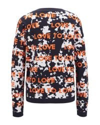 BOSS Multicolor Relaxed-fit Sweater With Jacquard-knitted Slogan