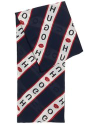 HUGO - Blue Collection-themed Scarf In Modal And Cotton - Lyst