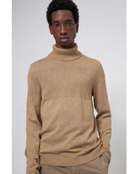 Pull col roulé en laine et coton à la structure jacquard placée HUGO pour homme en coloris Natural