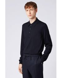 BOSS Blue Sweater In Virgin Wool With Polo Collar for men