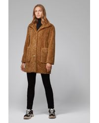 BOSS Brown Regular-fit Teddy Coat With Stand Collar for men