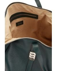 BOSS Green Zippered Shopper In Calf Leather With Silver Chain Detail