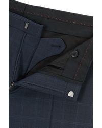 HUGO - Blue Windowpane Extra-slim-fit Three-piece Suit In Virgin Wool for Men - Lyst