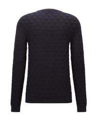 HUGO | Blue Slim-fit Cotton Sweater In 3d Geometric Structure for Men | Lyst
