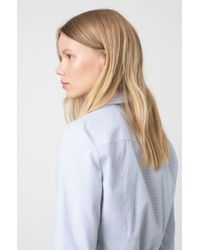HUGO Blue Slim-fit Blouse In Micro-striped Dobby Cotton