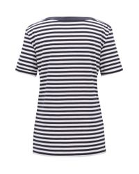 BOSS Blue Striped Boat-neck Top In Stretch Fabric