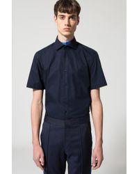 HUGO - Blue Regular-fit Short-sleeved Shirt In Cotton Poplin for Men - Lyst