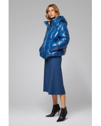 BOSS by Hugo Boss Blue Regular-fit Water-repellent Down Coat In Glossy Fabric
