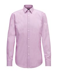 BOSS Pink Slim-fit Shirt In Striped Dobby Cotton for men