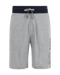 BOSS Gray Drawstring-waist Loungewear Shorts With Embroidered Logo for men