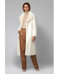 BOSS by Hugo Boss Natural Longline Patched Coat In Toscana And Lambskin Shearling