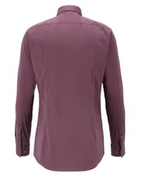 BOSS - Purple Extra-slim-fit Cotton-blend Shirt With Stretch for Men - Lyst