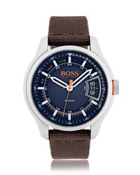 BOSS - Brushed Stainless-steel Watch With Blue Dial And Brown Fabric Band for Men - Lyst