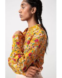 HUGO Orange Floral-print Regular-fit Blouse With Point Collar