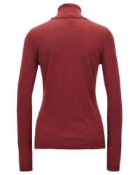 BOSS Orange - Red Slim-fit Sweater In A Cotton-silk Blend - Lyst