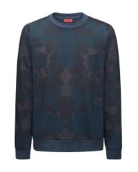 HUGO Blue Printed Crew-neck Sweatshirt In French Terry for men