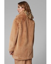 BOSS Brown Oversized-fit Double-breasted Coat In Faux Fur