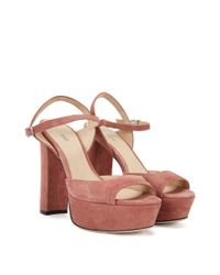 HUGO - Brown Platform Sandals In Suede With Ankle Strap - Lyst