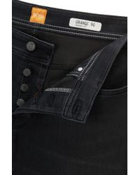 BOSS Orange - Black Tapered-fit Jeans In Super-stretch Denim for Men - Lyst
