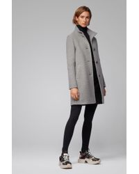 BOSS Gray Regular-fit Coat In Wool-blend Bouclé