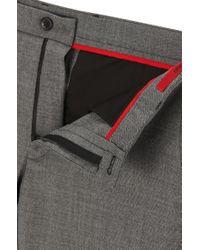 HUGO - Gray 'heldor' | Extra Slim Fit, Stretch Virgin Wool Pants for Men - Lyst