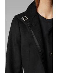 BOSS Black Tie-waist Coat In Italian Virgin Wool With Cashmere