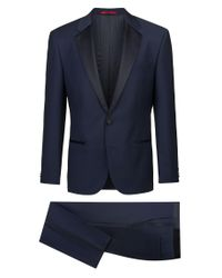 HUGO Blue Slim-fit Micro-patterned Evening Suit With Silk Detailing for men