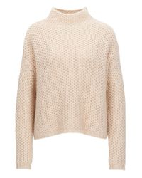 HUGO | Natural Funnel-neck Sweater In A Structured Knit | Lyst