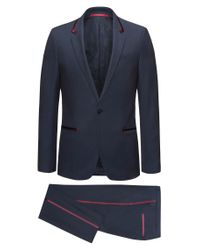 HUGO - Blue Extra-slim-fit Tuxedo Suit In Virgin Wool Crepe With Silk Trims for Men - Lyst