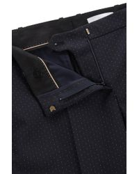 BOSS Multicolor Slim-fit Trousers In Stretch Dotted Virgin Wool