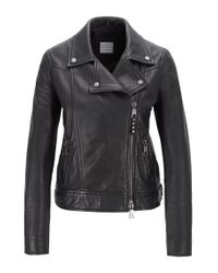 BOSS Black Perforated Biker Jacket In Lamb Leather With Asymmetric Zip
