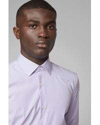BOSS Blue Slim-fit Shirt In Striped Easy-iron Cotton for men