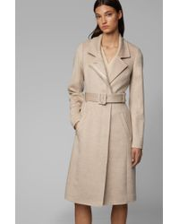 BOSS Natural Belted Coat In Italian Virgin Wool With High Collar