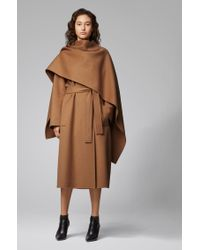 BOSS Brown Relaxed-fit Belted Trench Coat With Detachable Shawl