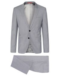 HUGO | Gray 'arvon/wiant/hilwert' | Slim Fit, Italian Virgin Wool 3-piece Suit for Men | Lyst