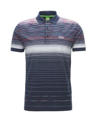 dfe9519f8 BOSS Athleisure. Men's Blue Paddy 3 Polo Shirt, Engineered Stripe ...