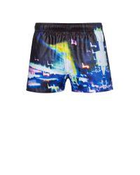 Short de bain à séchage rapide à imprimé lumières de la ville HUGO pour homme en coloris Black